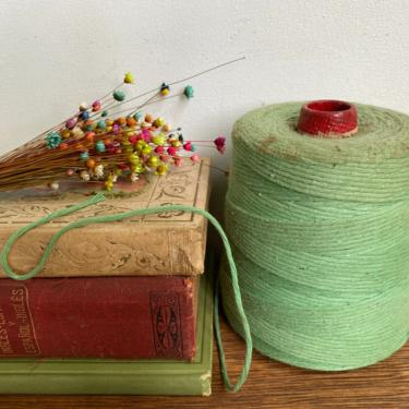 Vintage Spool Of Green String, Red Cone, Cotton String, Crafting Room, Primitive Decor by luckduck