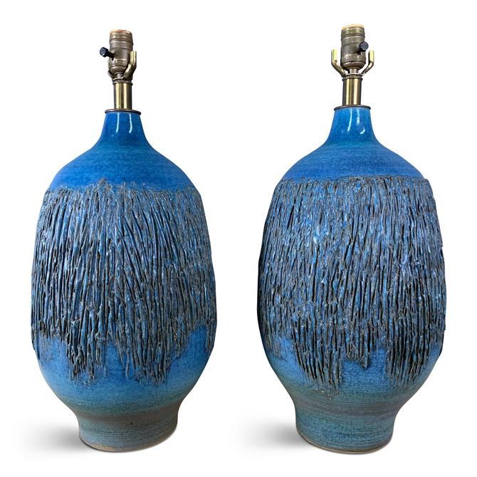 1960s Cerulean Blue Ceramic Table Lamps a Pair by Lee Rosen for Design Technics