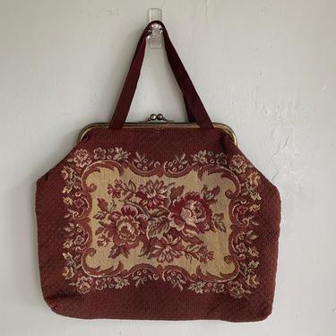 1940s Rich Tapestry Seligman Knitting Bag Tote Vintage Hand Bag by AmalgamatedShop