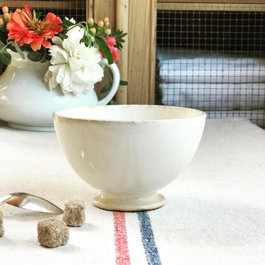 Beautiful vintage French cream white cafe au lait bowl from a famous maker Digoin- DCB by Grainsacfrenchvintag