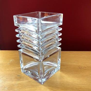 Riihimäen Lasi Heavy Glass Vase Finland Mid Century by retrowarehouse