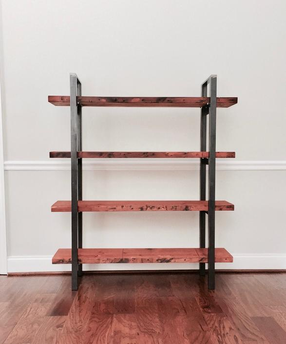 The SUMMIT  Bookshelf / Shelving Unit - Reclaimed Wood & Steel - Multiple Sizes Available by arcandtimber