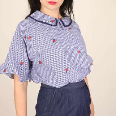 Vintage Gingham Cotton Blouse/ Chelsea Collar Statement Sleeve Top/ Rose Embroidered Shirt/ Cute Lolita Blouse Ruffle Sleeves/ Size Large by FemmeAndFauna