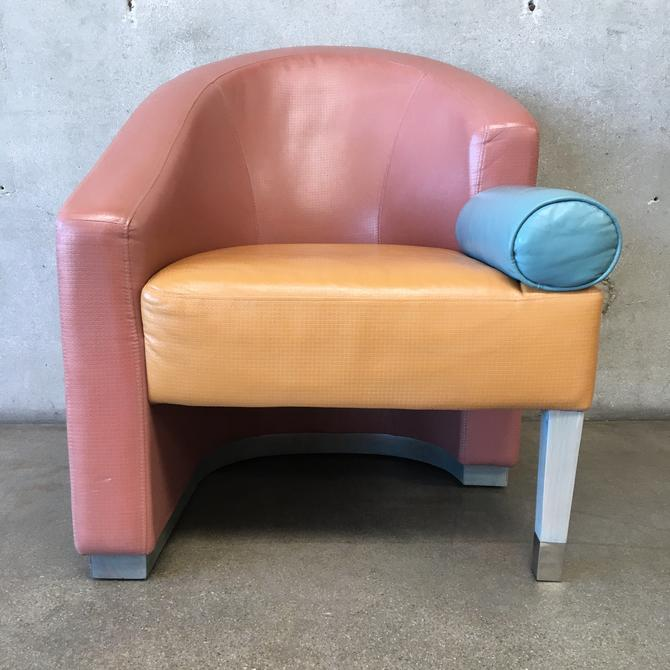 Color Block Asymmetrical Barrel Chair