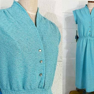 Vintage Textured Sky Blue Dress Cap Sleeve Boho Festival Party Cocktail A-Line Mod Nubby Terrycloth Button Front 1970s 70s Large by CheckEngineVintage