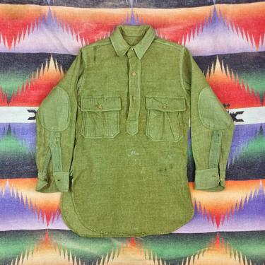 Size XS Vintage 1910s WW1 US Army M-1917 Green Wool Flannel Pullover Shirt #3 by BriarVintage