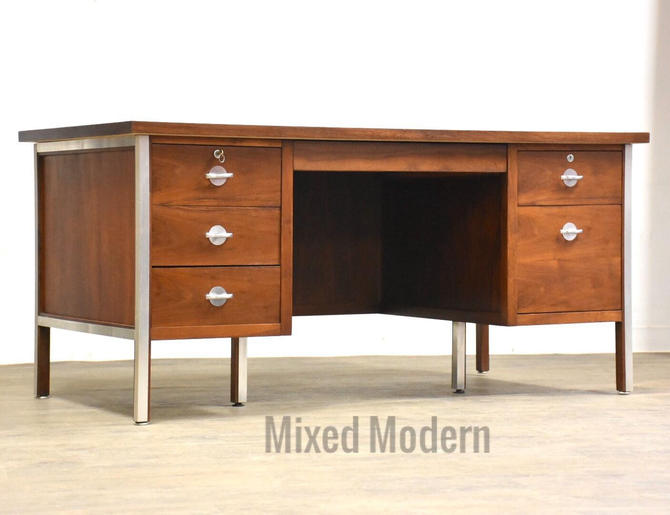 Walnut & Aluminum Executive Desk by mixedmodern1