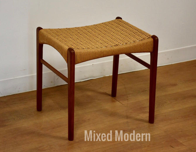 Teak and Papercord Danish Ottoman by mixedmodern1
