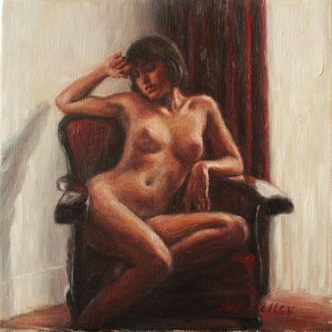 Nude in a Red Chair. Original Oil Painting by Pat Kelley. Vintage Style. Female Figurative Art. Romantic, Nostalgic by PatKelleyStudio