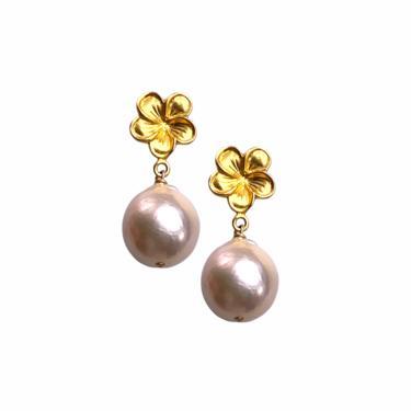 Petal Pearl Drop Earring