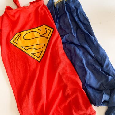 Vintage lot of 2 Superman & Super Hero Capes / size 6-8x by MsTips