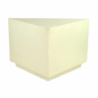 Modern Triangular Faux Stone Finish Pedestal Corner Table or Sculpture Stand by PrairielandArt