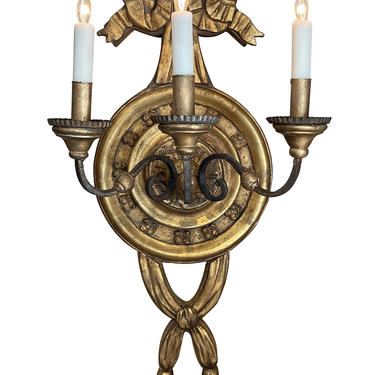 Large Italian Baroque Style 3-Arm Giltwood and Iron Wall Sconce - Now Electrified