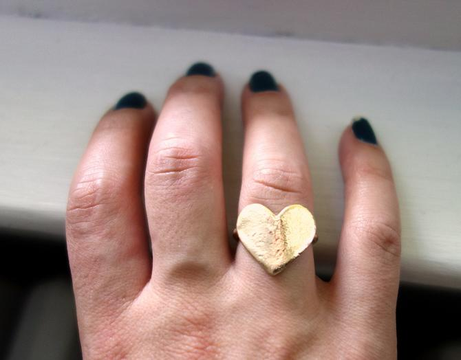 Solid 14k Yellow Gold Flat Heart Ring by RachelPfefferDesigns