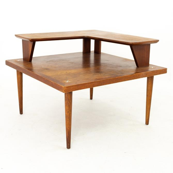 Merton Gershun for American of Martinsville Mid Century Walnut Two Tier Corner Side End Table with X Inlay by ModernHill
