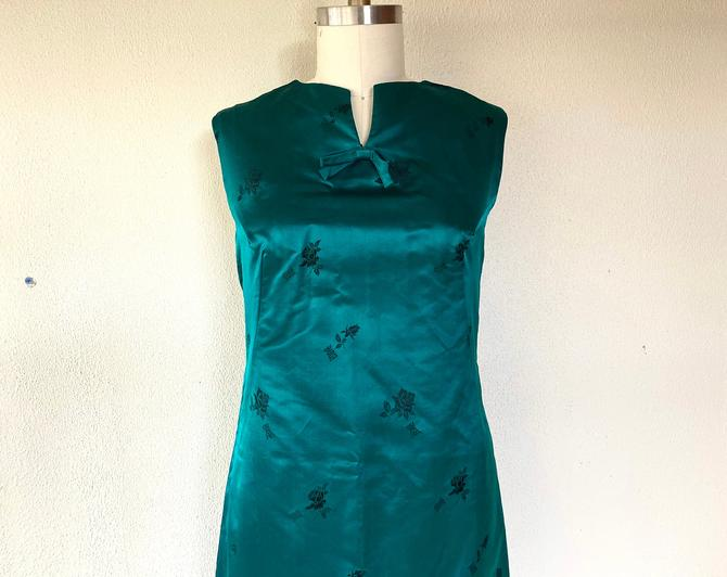 1960s Emerald green Chinese satin sheath dress by VelvetGoldmineShop