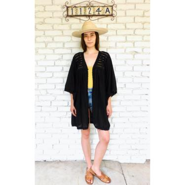 Gauze and Crochet Tunic // vintage dress shirt boho cardigan hippie open blouse black hippy Mexican 70s 1970s jacket // O/S by FenixVintage