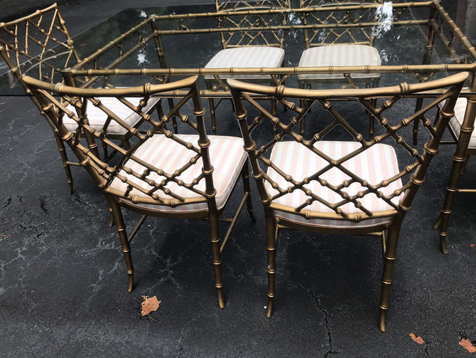 Incredible vintage Phyllis Morris faux bamboo cast aluminum dining set by HolbrookBazaar