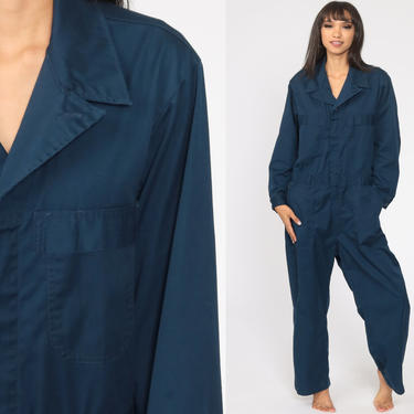 Navy Boiler Suit 42 S 90s Coveralls Pants Jumpsuit Long sleeve Boilersuit Workwear Coverall Blue One Piece Work Wear Vintage Mechanic by ShopExile