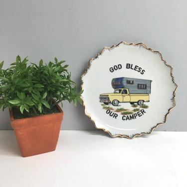 God Bless Our Camper decorative plate - plate wall decor for your house with wheels by NextStageVintage