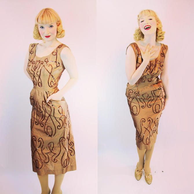 VLV 1950s Dress Marilyn Monroe Wiggle Sheath Silk with Sequins Size S by WalkinVintage