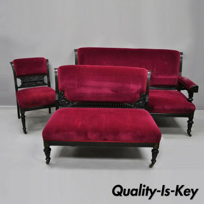 3 Pc Eastlake Victorian Aesthetic Mvmnt Ebonized Parlor Set Sofa Loveseat Chair