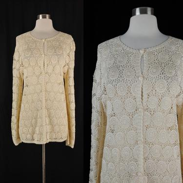 Vintage Large Cream Crochet Long Sleeve Cardigan Top - Open Knit Button Front Sweater L by JanetandJaneVintage