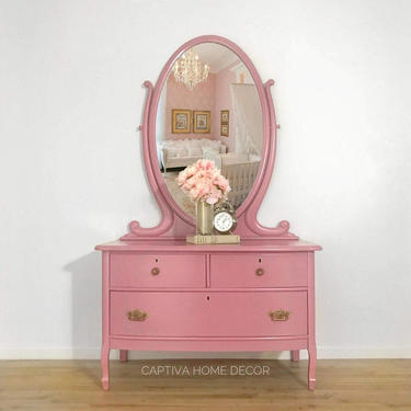 Pretty Princess Chest, Blush Pink, Gold Antique Hardware, Curvy Mirror, Detailed Dressing Table, Three Drawer, Girl's Nursery Bedroom by CaptivaHomeDecor