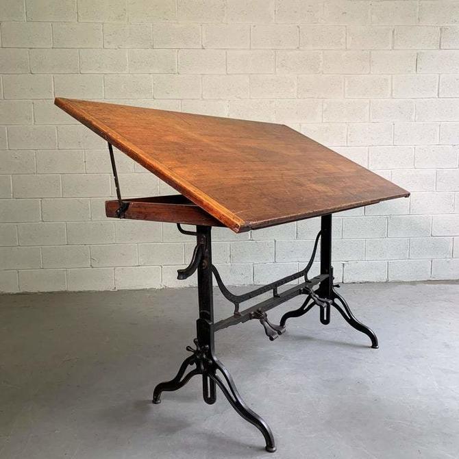 Antique Industrial Adjustable Drafting Table By J.G. & J.N. Alexander, 1984