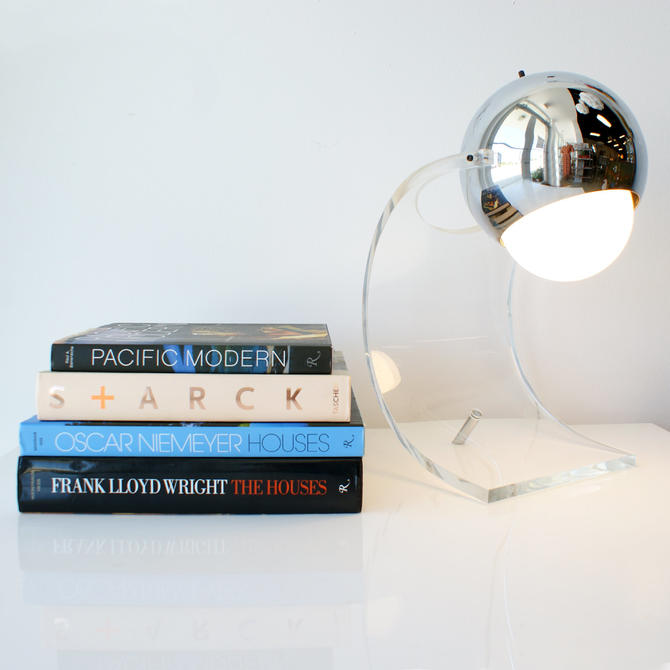 Sonneman Table Lamp Chrome and Lucite Mid Century Modern by TheModernHistoric