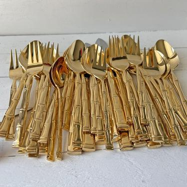 Vintage 42 Piece Gold Bamboo Korea Stainless Flatware, 8 Piece Set, Party Of 8 // Boho, Chic, Bamboo Silverware Set // Perfect Gift by CuriouslyCuratedShop