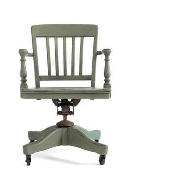 AVAILABLE Hand Painted Sage Green Vintage Bankers Chair, Olive Swivel Office Chair on Casters, Antique Army Green Desk Chair by GreenSpruceDesigns
