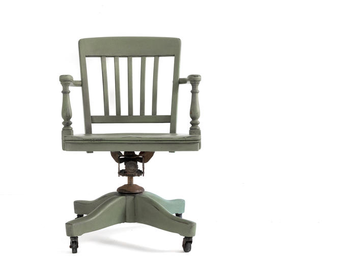 Available Hand Painted Sage Green Vintage Bankers Chair Olive Swivel Office Chair On Casters Antique Army Green Desk Chair By Greensprucedesigns From Green Spruce Designs Of Vienna Va Attic