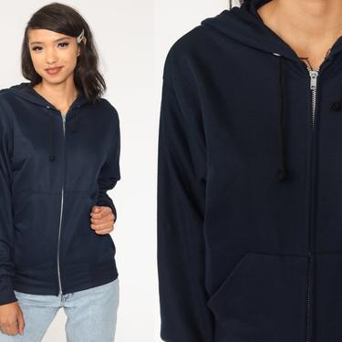 Blue Hoodie Shirt 80s Hooded Sweatshirt Navy Hood Zip Up Sweatshirt Plain Slouchy 1980s Sweater Jacket Vintage Medium by ShopExile