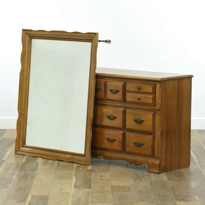 American Traditional Long 9 Drawer Dresser W Mirror