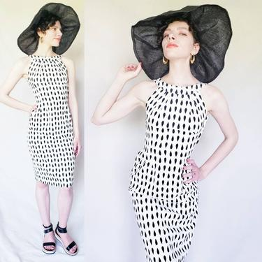 1950s Black and White Patterned  Wiggle Dress / 50s Sleeveless Summer Dress with Teardrop Print Mindy Ross / S by RareJuleVintage