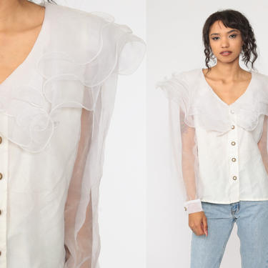 White Organza Blouse Sheer Ruffle Shirt 90s Button Up Shirt Party Collar Top Vintage 1990s Long Sleeve Glam Large by ShopExile