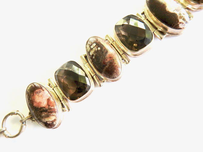 Sterling Silver Jaspar Smoky Quartz Bracelet by LegendaryBeast