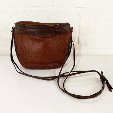 Vintage Brown Leather Crossbody Purse Myers Brown USA Shoulder Bag Handbag Retro Small Bucket Boho 1970s 70s Hippie Bohemian Neutral by CheckEngineVintage