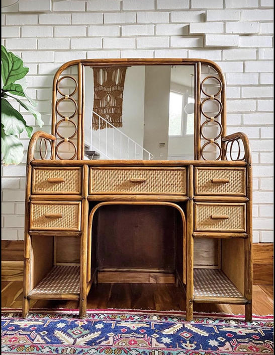 Amazing Vintage Rattan and Bamboo Vanity by PortlandRevibe