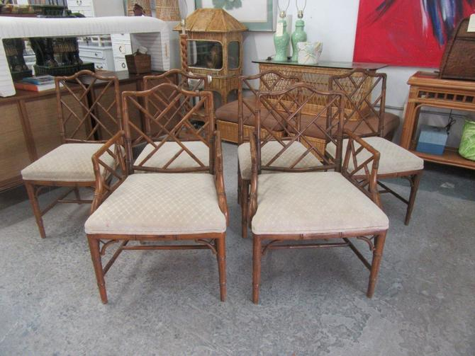 6 Century Faux Bamboo Chippendale Chairs