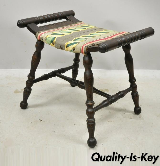 Antique English Jacobean Shell Carved Oak Spindle Bench Upholstered Seat Stool