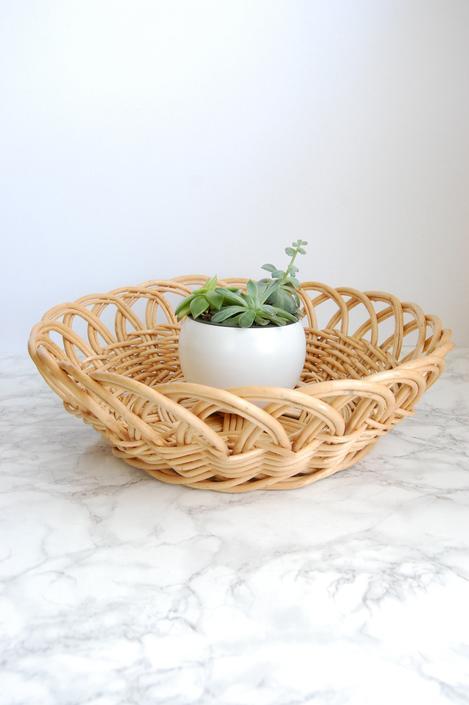 Vintage Woven Chunky Basket Round Large Basket Tray Boho Decor by PursuingVintage1