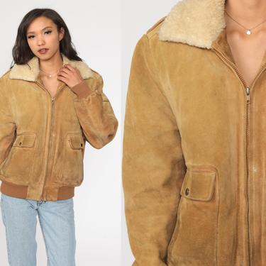 Brown Suede Jacket 70s Leather Flight BOMBER Boho Faux Fur Lining Coat Shearling Hippie Moto 1970s Bohemian Seventies Medium by ShopExile