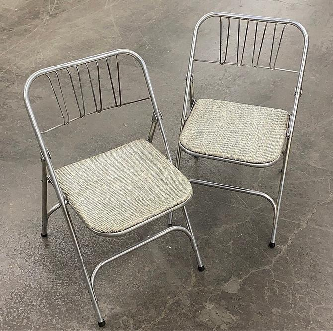 Vintage Folding Chairs Retro 1960s Mid Century Modern + Airlite Products + Silver Metal Frame + Vinyl Seat + Folds Up + Set of 2 + Seating by RetrospectVintage215