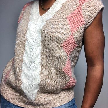 1970s 1980s 80s Sweater Vest V-neck Jumper Cable Knit Argyle Tan Ivory Pink Preppy Knit Plush Extra Large Oversized XL L by KeepersVintage