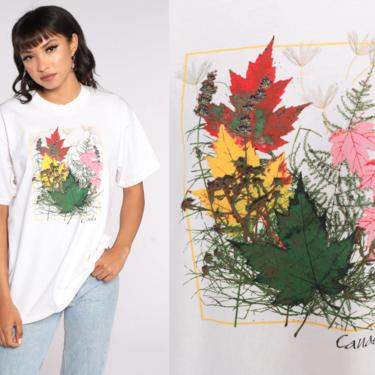 Vintage Canada Shirt Travel Shirt White Maple Leaf T Shirt 90s Graphic Tshirt 1990s Large L by ShopExile