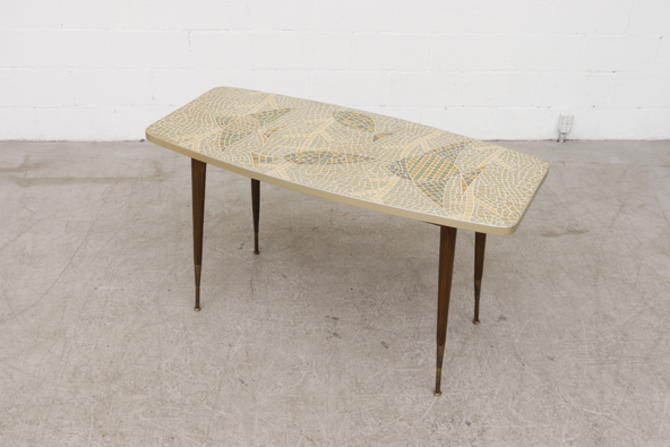 Fish Mosaic Coffee Table with Adjustable Leg Height