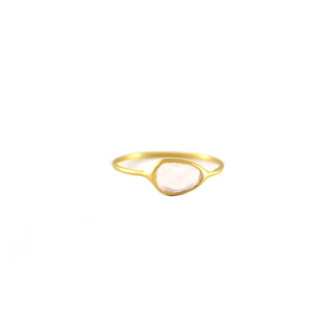 Rose Quartz Slice Ring