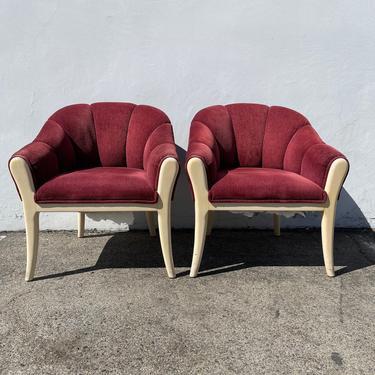 2 Vintage Chairs Scalloped Wood Tub Barrel Back Mid Century Modern Milo Baughman Style Armchair Regency Vintage Seating Tufted Vinyl MCM by DejaVuDecors